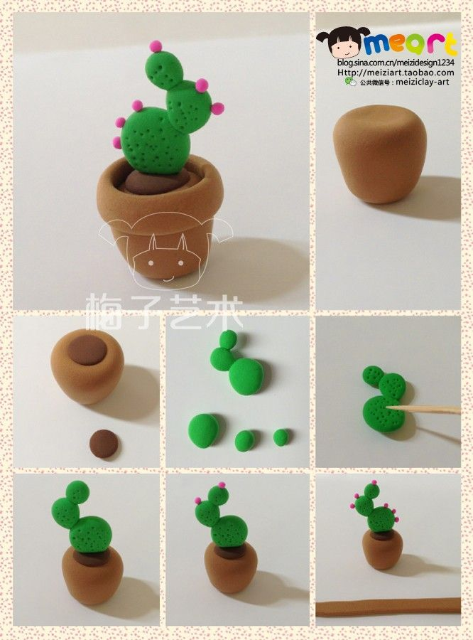 clay cactus in a clay flowerpot | Adult-child project alert