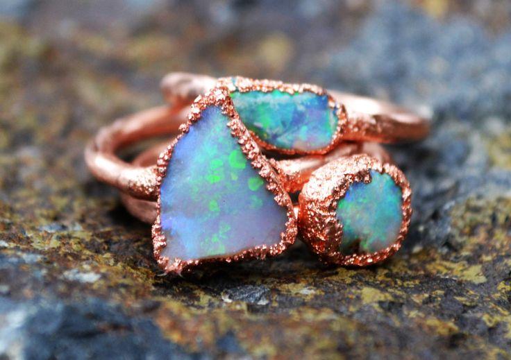 Anello opale rame elettroformati anello di THEHOUSEOFMINERALS