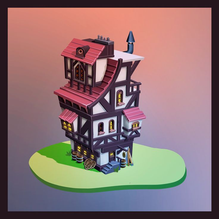 a #2D timbered house for #GameArt.