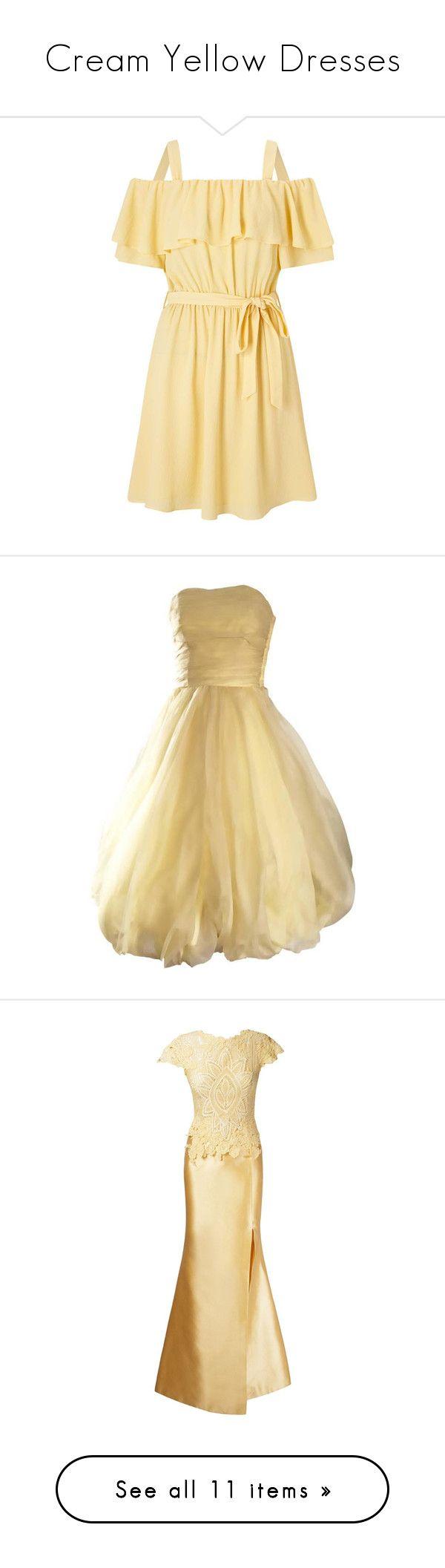 """Cream Yellow Dresses"" by tegan-b-riley on Polyvore featuring dresses, yellow, day to night dresses, short yellow dress, beige short dress, short ruffle dress, flutter-sleeve dress, vintage dresses, formal wear and evening cocktail dresses"
