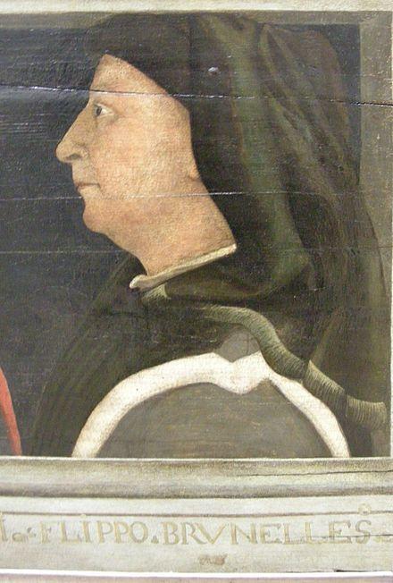 """Ritratto di Brunelleschi - anonimo della seconda metà del XV secolo - Louvre A lui si deve l'invenzione della prospettiva a punto unico di fuga, o """"prospettiva lineare centrica"""".Con Brunelleschi nacque la figura dell'architetto moderno che, oltre che  capomastrio  ha anche un ruolo  nella fase progettuale: non esercita più un'arte meramente """"meccanica"""", ma è ormai un intellettuale che pratica un'""""arte liberale"""", fondata sulla matematica, la geometria, la conoscenza storica."""