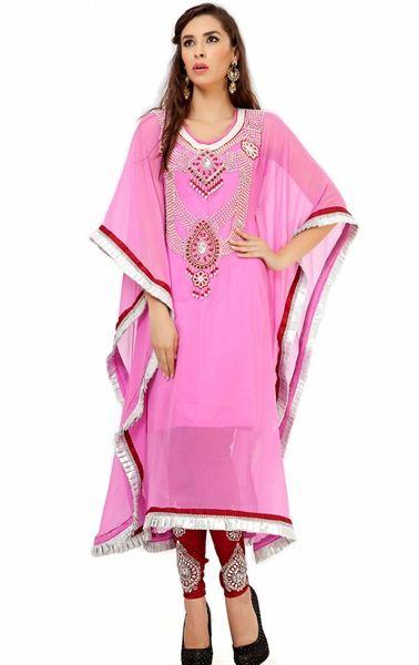 Picture of Attractive Pink Designer Salwar Kameez Kaftan Dress
