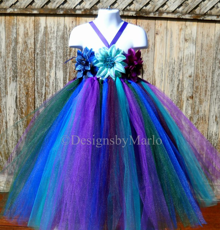 Peacock flower girl dress Purple tutu dress Blue by Designsbymarlo, $79.50