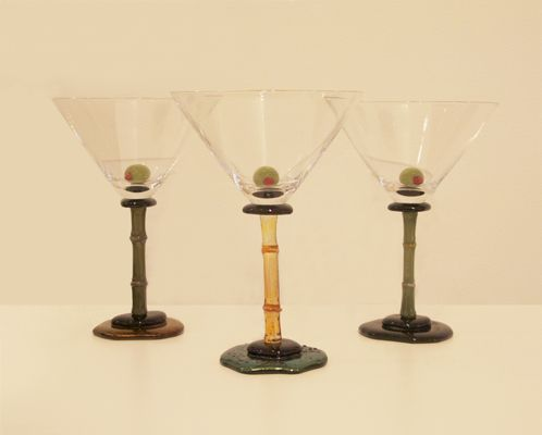 "Margaret Neher- ""Bamboo Martini Glass with Olive"" flameworked glass"