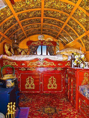 Beautiful interior of gypsy caravan