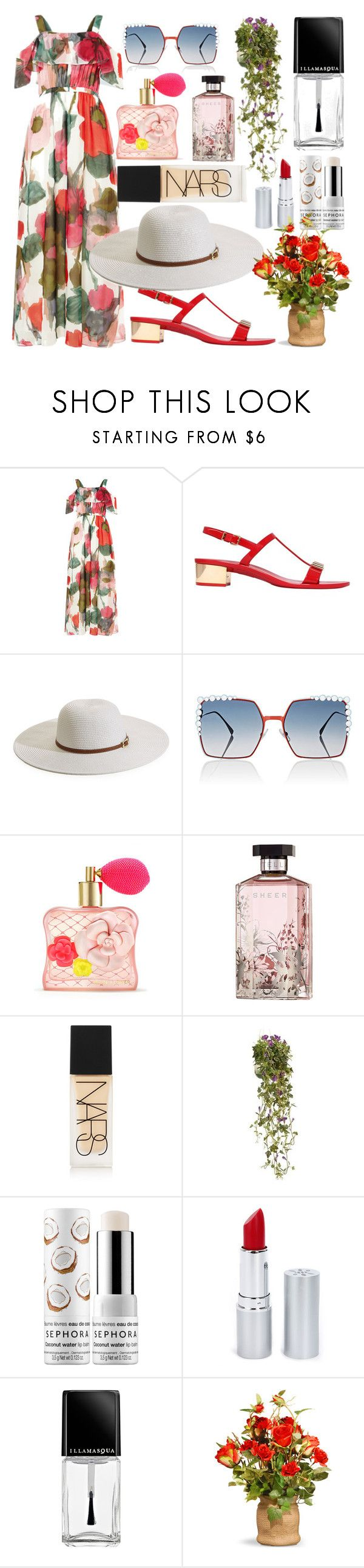 """Untitled #453"" by ngkhhuynstyle ❤ liked on Polyvore featuring Phase Eight, Salvatore Ferragamo, Melissa Odabash, Fendi, Victoria's Secret, STELLA McCARTNEY, NARS Cosmetics, National Tree Company, Sephora Collection and HoneyBee Gardens"