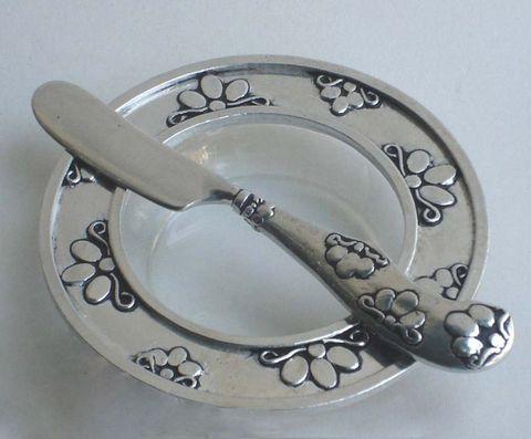 Pewter Floral Ring Bowl & Knife. www.GoodiesHub.com