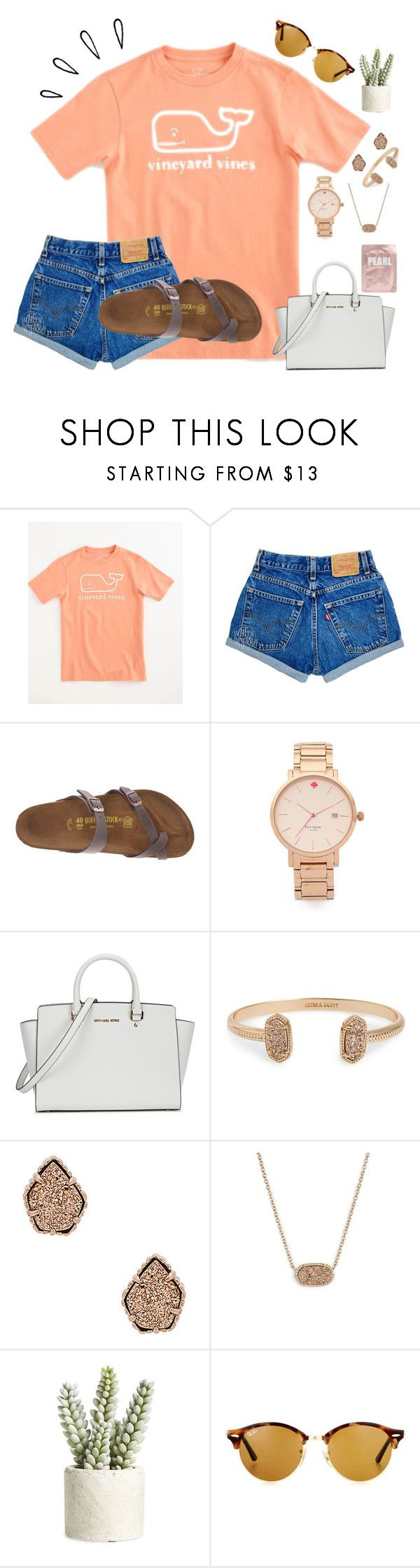 """~shoutout set::rtd~"" by taybug2147 ❤ liked on Polyvore featuring Vineyard Vines, Birkenstock, Old Navy, Kate Spade, Michael Kors, Kendra Scott, Allstate Floral, Ray-Ban and Lapcos"