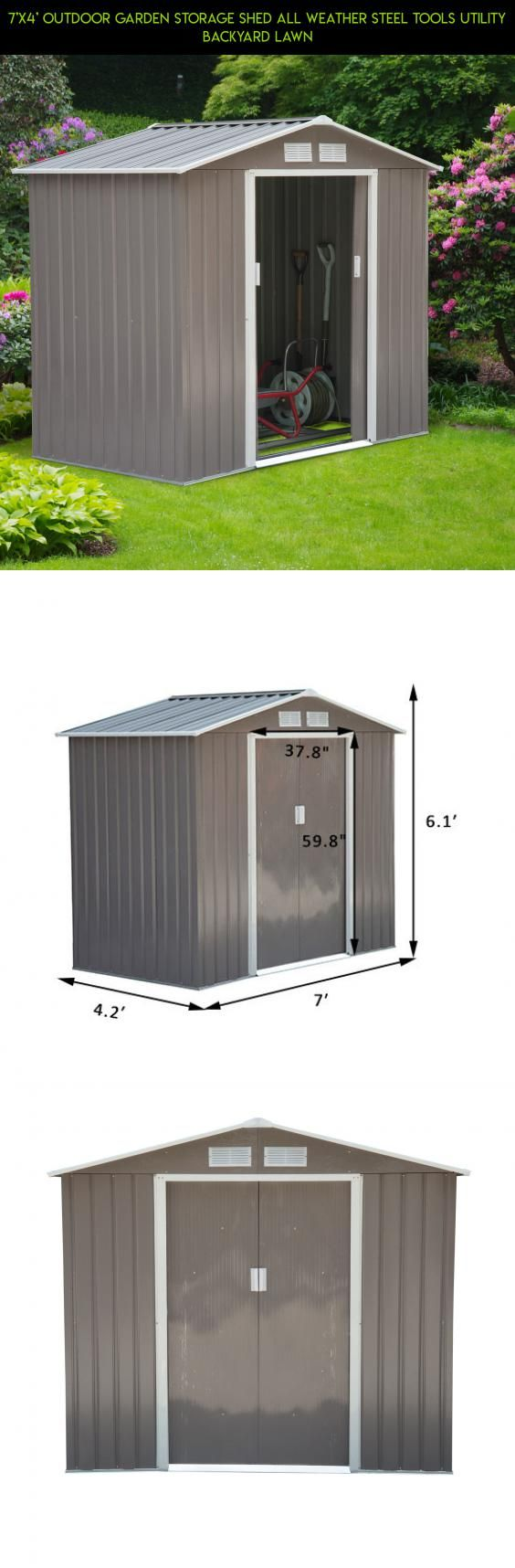 7'x4' Outdoor Garden Storage Shed All Weather Steel Tools Utility Backyard Lawn #tech #plans #storage #parts #fpv #drone #kit #technology #shopping #gadgets #camera #shed #racing #products