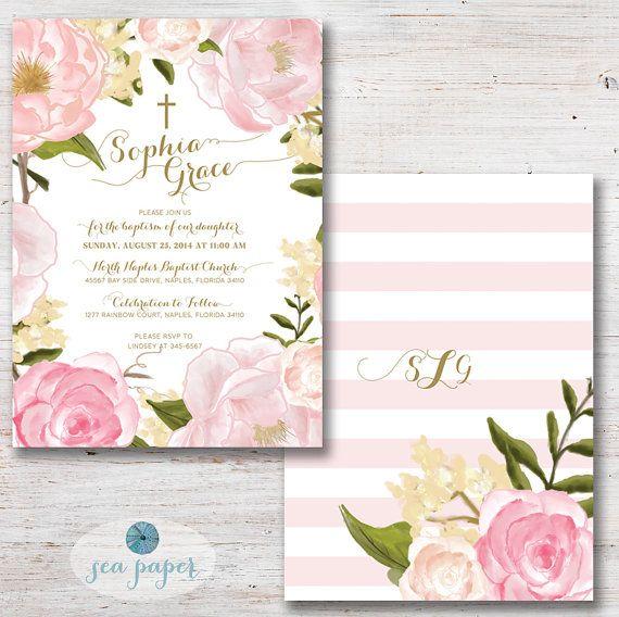 Invitaciones para bautizo de niña, con acuarela rosa y caligrafía en oro.