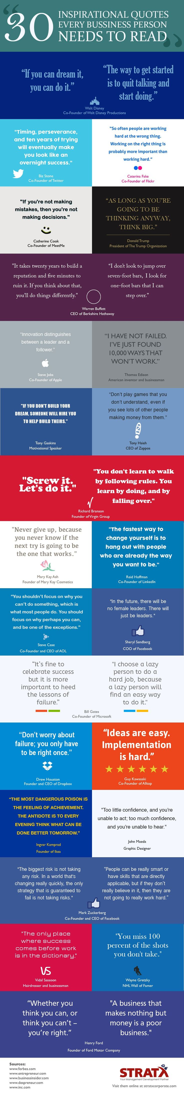30 Inspirational Quotes Every Business Person Needs To Read #infographic #Business #Entrepreneur #Quotes