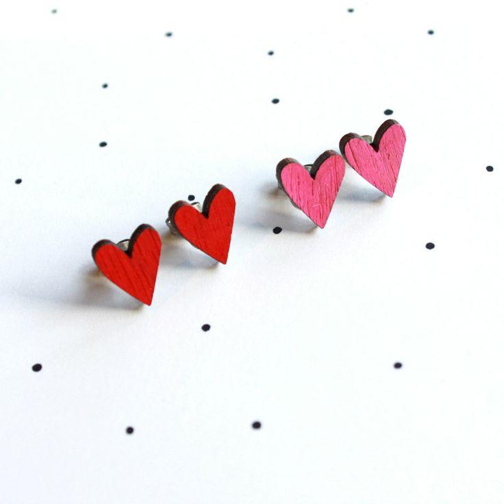 Wooden Laser Cut Love Heart Earrings. #EtsyAustralia