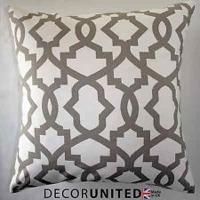 "TAUPE IVORY LATTICE MOROCCAN CUSHION COVER 18x18"" By Decor United"