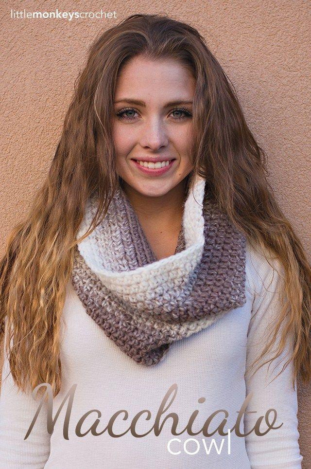 Macchiato Cowl Crochet Pattern  |  Free Scarfie Yarn Cowl Crochet Pattern by Little Monkeys Crochet