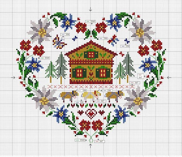 montagne - mountain - point de croix - cross stitch - Blog : http://broderiemimie44.canalblog.com/