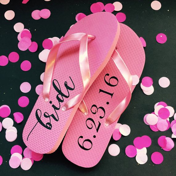 Bride Flip Flops Flip-Flops Personalized by WhiteRabbitsDesign