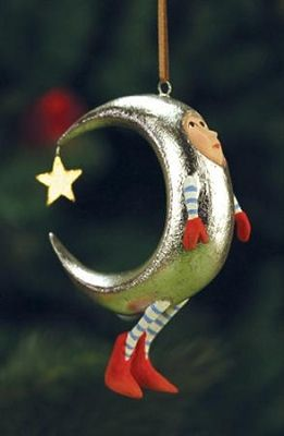 """PATIENCE BREWSTER 2013 SILVER MOON MINI ORNAMENT Dimensions: 4"""" Primary Material: Stone Resin"""