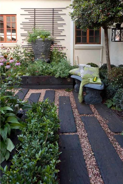 paving and vertical space jo clinton designs courtyard garden for private clients in parkhurst johanesburg using a pathway of railway sleepers of various - Garden Design Using Sleepers