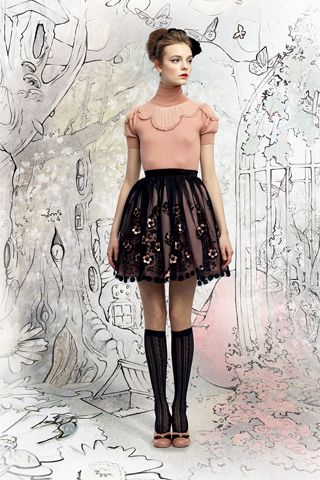 peach scallop top and whimsical black lace skirt