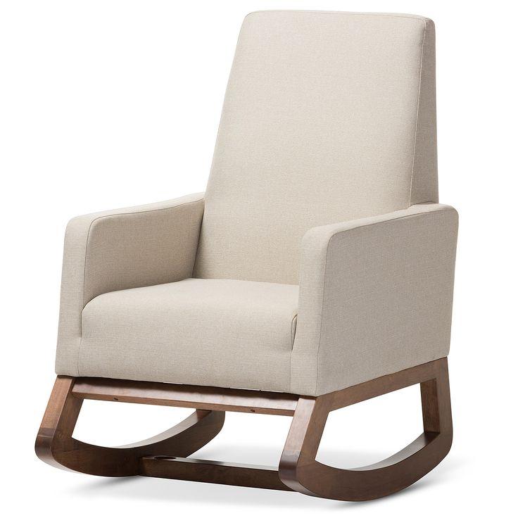 Yashiya Mid - Century Retro Modern Light Fabric Upholstered Rocking Chair - Light Beige - Baxton Studio