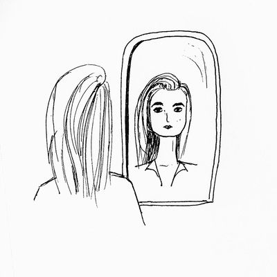 looking in mirror different reflection drawing. portfoilo - sophia duclo- ink drawing, girl looking in mirror, self reflection, mirror different reflection drawing i