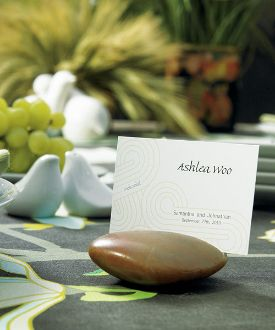 asian inspired natural rocks with card etch place card holders