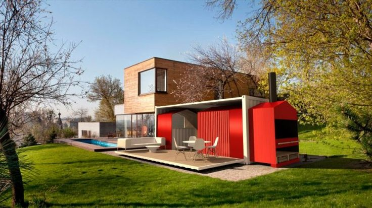 red container home with pool - wood burning stove