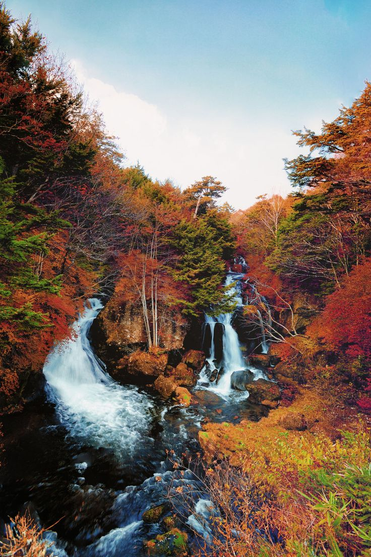 The fall colors at Ryuzu Falls in Japan's Nikko National Park will take your breath away. Source countryliving.com