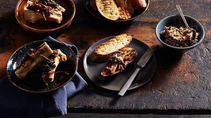Roasted bone marrow with porcini butter and chestnut mushrooms | As the weather starts to cool, I begin to crave earthier, richer food and this dish is a great example. Chestnut mushrooms are very delicious with a nice firm texture and a delicious strong flavour that holds up to the richness of the bone marrow and the strong flavours of this dish. Altogether, it's an indulgent ode to autumn.