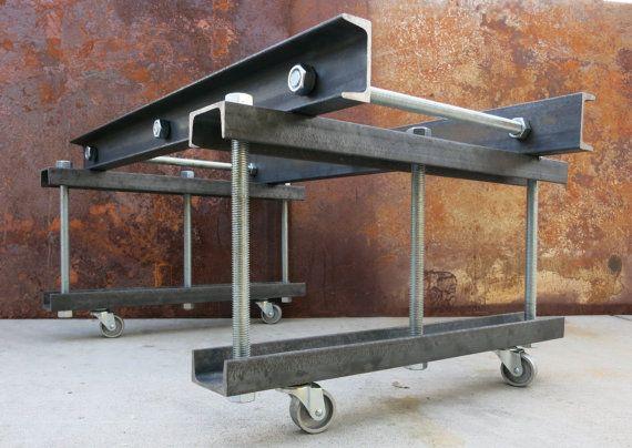 Modern Industrial Metal Table Base Channel Rod by SteelImpression