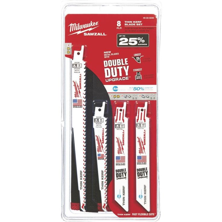 Milwaukee 8Pc Sawzall Blade Set, White ice