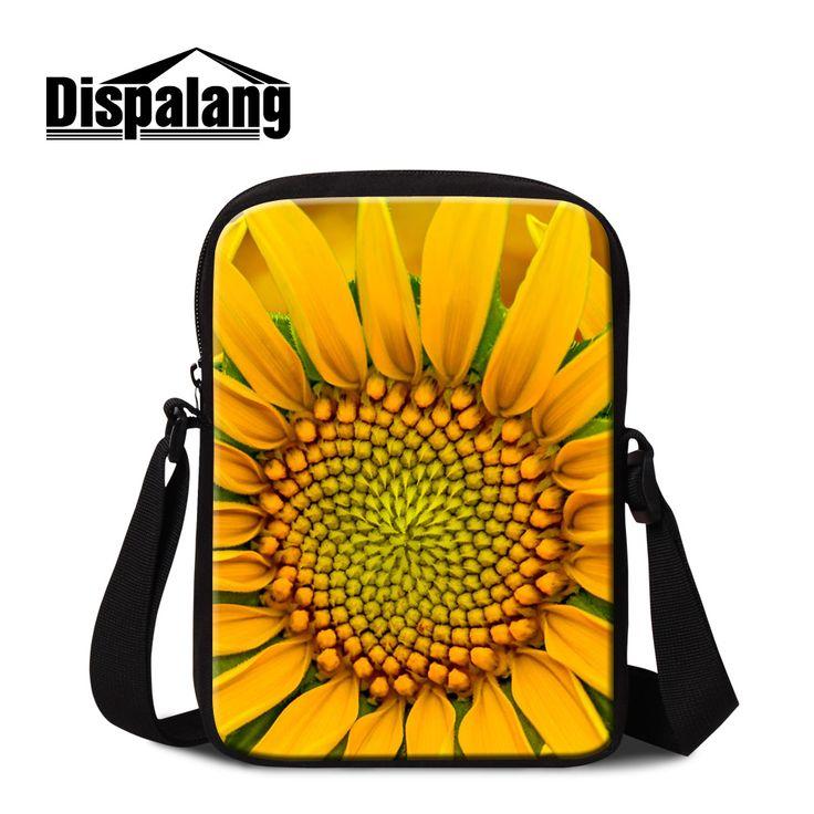Dispalang yellow chrysanthemum flower women's small flap for trip female floral printing messenger bags girls mini shoulder bag
