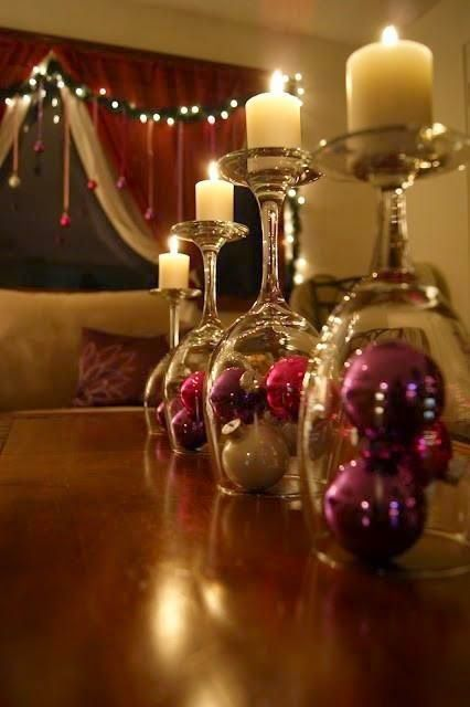 Glass upside down Candle Holder