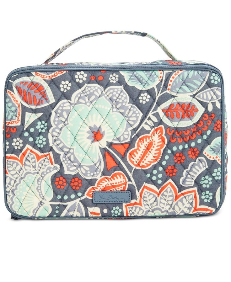 Finally, a case large enough to fit all your get-pretty products! From brushes to blushes to full-size items, this Vera Bradley bag delightfully organizes them all in signature printed cotton. | Cotto