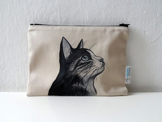 Cat Pouch Zipper Pouch  cosmetic bag pencil case by ShebboDesign