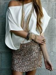 Sparkle skirt, simple shirt,