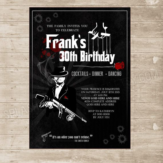 Mafia The Godfather inspired Invitation by SplashboxPrintables