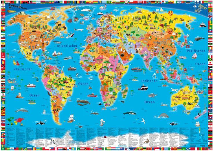 Good Illustrierte politische Weltkarte f r Kinder online kaufen