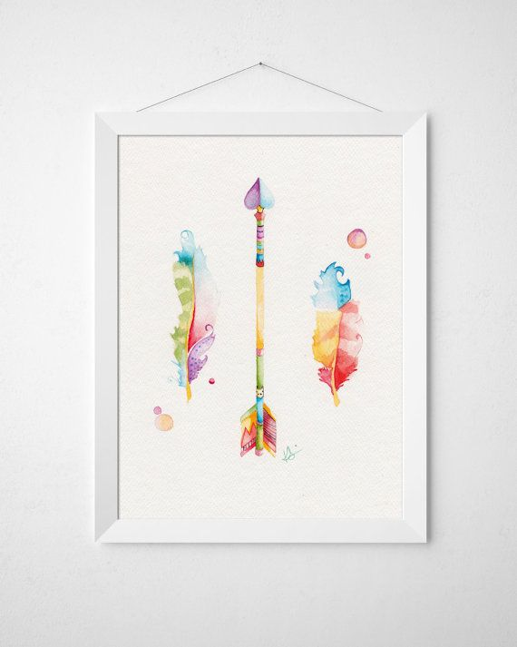 Nursery Art - Arrow and Feathers - Original Watercolor by BrilliantCritter, $50.00