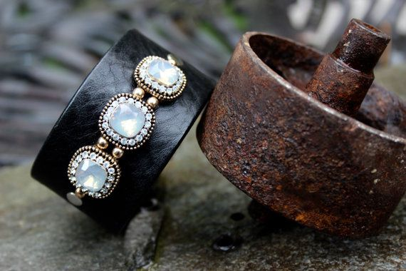 Opalescent Leather II Bracelet by ShopPrettyPatina on Etsy