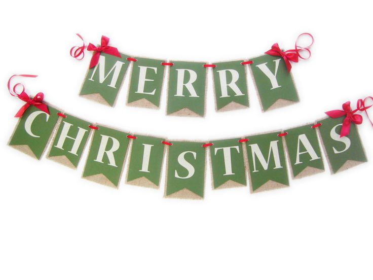 Merry Christmas Burlap Banner | Christmas Mantle Decor | Holiday Banner