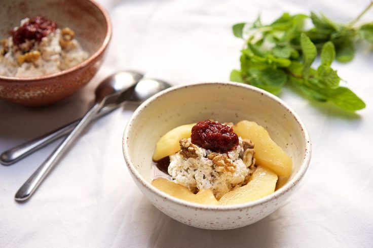 Bircher muesli with tart rhubarb, spicy honey poached pears and a warming sweet broth