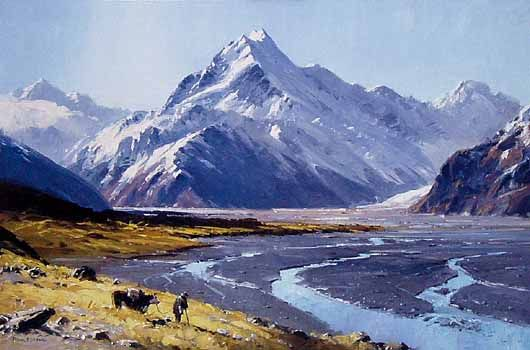 Mt Cook and the Tasman River, New Zealand by Peter Beadle