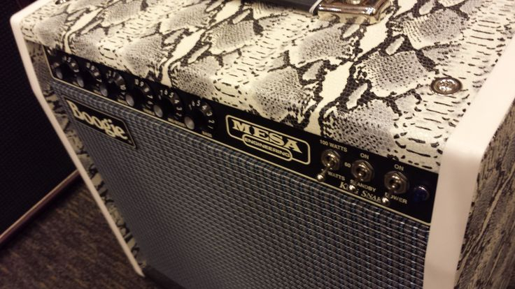 This is the new Mesa Boogie King Snake amp. This amp is a #TBT to 1972 when Carlos Santana toured with it. It's revolutionary due to the high-gain tube preamp that allowed for sustain and overdrive at any volume. We take this for granted now but in 1972 this was a big deal! It would also look totally in place for an '80s hair-metal band, so this amp actually throws you back to two different decades! This amazing brand-new reproduction amp is available in our Vancouver location.