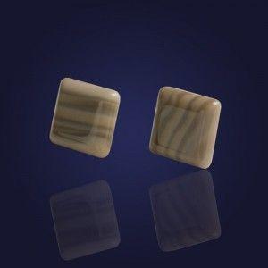 Oryginalne kolczyki srebrne z krzemienia pasiastego-kwadraty