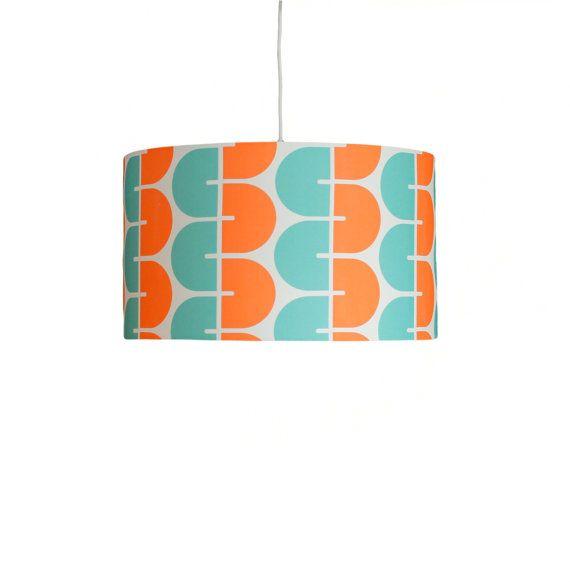 Luminaire suspendu de tambour moderne - enroulements mandarine & Mint - tambour abat-jour - Choisissez votre taille