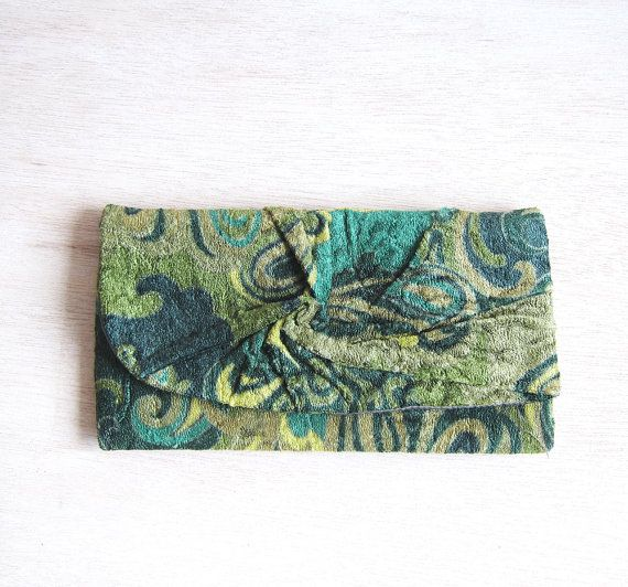 Personalize  Forest Green  Clutch Bag in Cotton by MariesCorner