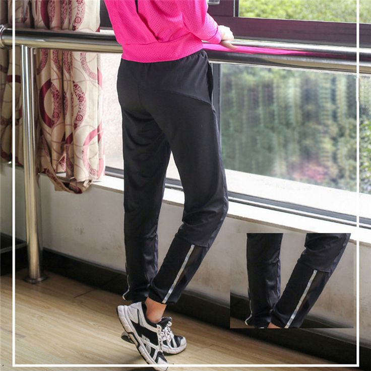 New 2017 Women's Sports Trousers Running Gym Fitness Pants Female Loose Dry Quick Workout Leggings Capris Lace-up Pants