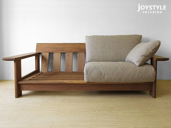 Wooden Sofa on L Shaped Leather Chair