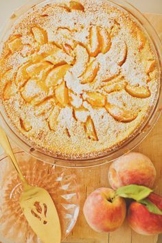 Peach Custard Pie. I will be making this today so Luke will have a special dessert to take in his lunch to work. And for me to snack on later... :)